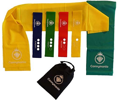 Cannymania 6er Set Gymnastikbänder | 4 Loops (Minibänder) + 2 Lange Sportbänder |mit PDF Übungsanleitung | Fitnessbänder Set 2m| Resistance Band Set | Physioband Set | Gummiband Fitness