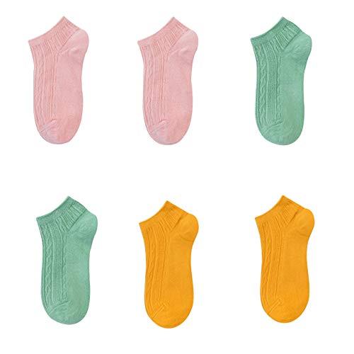 Calcetines Calcetines adultos Mujeres de las mujeres, cómodo talón, damas de primavera y algodón de otoño calcetines cortos, refrescantes y transpirables, calcetines deportivos antideslizantes, 6 pare