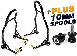 Venom Sport Bike Venom Motorcycle Front & Rear Combo Wheel Lift Stands Fork & Swingarm Stands Paddock Stands + Low Profile 10mm Black Swingarm Spools (Fits Most Kawasaki Bikes)
