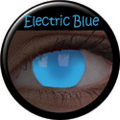 Halloween Kontaktlinse Lustige Linsen UV Glow Electric Blue Jährliche Einwegartikel 14 mm stärke 0.00 von ColourVUE