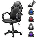 Computer Gaming Chair Cheap, High Back Ergonomic Racing Chair Headrest with Lumbar Support, Home Office Desk Chair Adjustable PU Leather Mesh, Video Game Chairs for Teens and Adults Black
