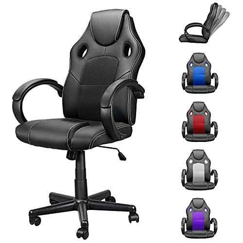 Computer Gaming Chair Cheap, Ergonomic Computer Chair with Lumbar Support and Headrest, Home Office Desk Chair Adjustable PU Leather Mesh, Video Game Chairs for Teens and Adults Black