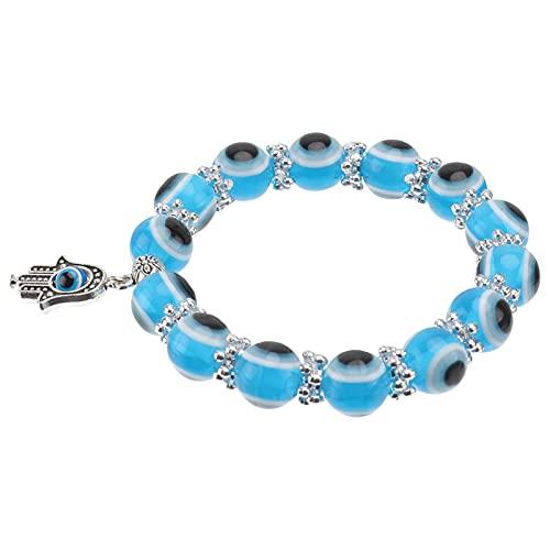 Chyang Turco Azul Ojo Pulsera Pulsera Azul Ojo Bead Hamsa Estirar Pulsera Mano de Fátima Turco Lucky Bracelet para Mujeres Hombres para Protección Y Bendición Colorido (Color : Skyblue)