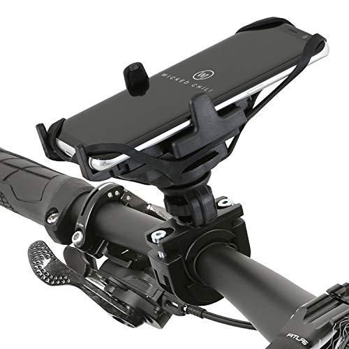 Wicked Chili Fahrrad/Motorrad Smartphone Halterung zur Lenkerbefestigung mit Sicherungsgummi und QuickFix-System kompatible mit Endgeräten mit 46 bis 76 mm Breite (Made in Germany) schwarz