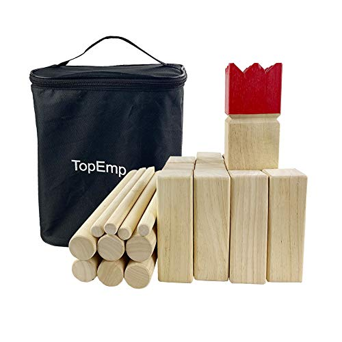 TopEmp Kubb Viking Chess Game, Wooden Outdoor Lawn Game Set, Fun Family Game for Backyard, Party, Great for All Ages