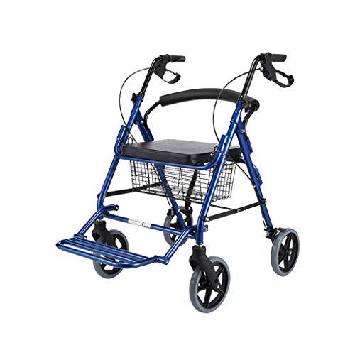HMHD Plegable Andador para Ancianos de 4 Ruedas | Frenos de maneta | Regulable en Altura | Asiento | Peso máximo soportado 150 Kg | Silla Asiento | Rollator Andador para Ancianos | Aluminio Blue