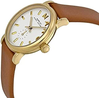 Marc By Marc Jacobs Baker Women's White Dial Leather Band Watch - Mbm1317, Analog Display