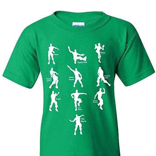 UGP Campus Apparel Emote Dances - Funny Youth T Shirt - Medium - Green
