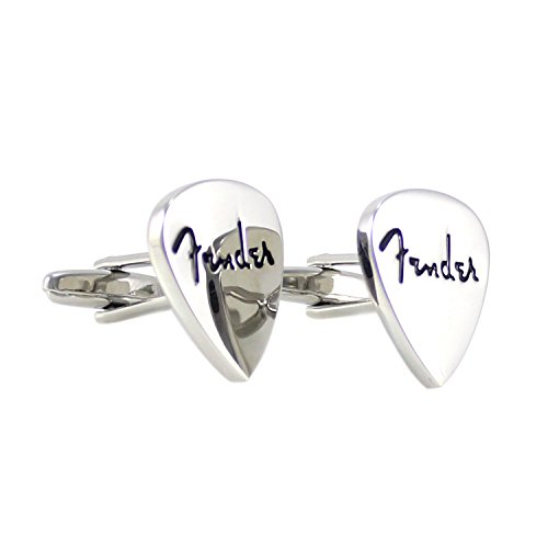 MENDEPOT Novelty Fender Guitar Pick Cufflinks with Box