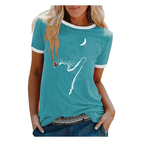 URIBAKY - Camiseta de manga corta para mujer, diseño de gato azul M