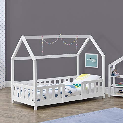 Cama para niños de Madera Pino 80 x 160 cm Cama Infantil con Reja Protectora Forma de casa Casita Blanco Mate Lacado