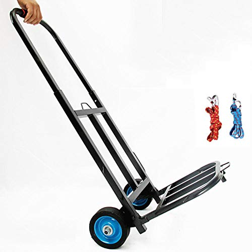 MIZE Steel Foldable Sack Barrows Duty With Anti Puncture Rubber Wheels and 75 kg Capacity,Black Trolly Bags for Shopping for Luggage, Travel