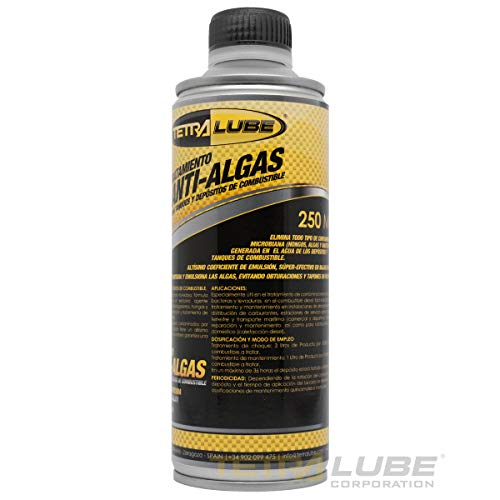 TETRA LUBE Tratamiento Diesel Anti-Algas. 250ml. Aditivo Diesel Anti-Algas. Tratamiento Antialgas Depositos de Combustible