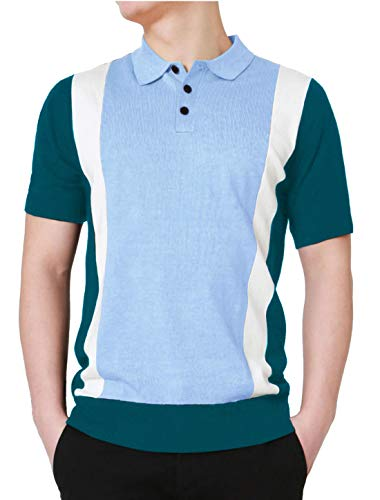 uxcell Men's Color Block Patchwork Knitted Short Sleeves Striped Button Golf Polo Shirts 38 Blue