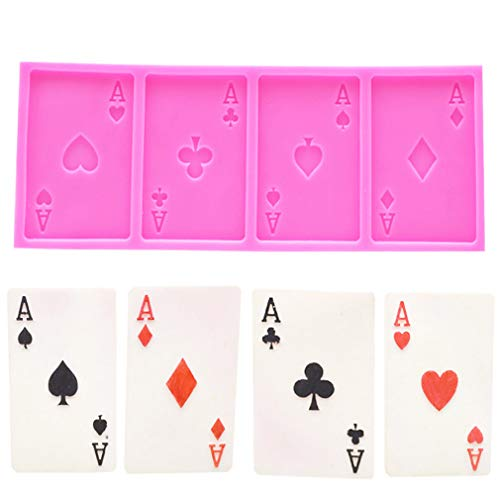 4 Aces Poker Playing Cards (Four of a Kind) for Chocolate Fondant Cake Cupcake Topper Decor Gum PastePolymer Clay Candy Resin Silicone Mold Tool