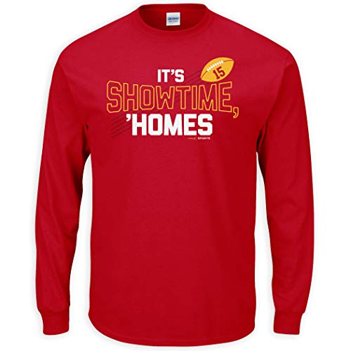 Nalie Sports Kansas City Football Fans. It's Show Time Homes Red T-Shirt (Sm-5X) (Long Sleeve, Large)
