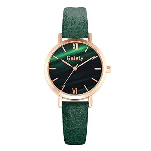 HEling Reloj de cuarzo para mujer, luminoso, multifuncional, minimalista, correa de piel, movimiento de cuarzo, correa ajustable, esfera redonda, Gn-d, talla única,