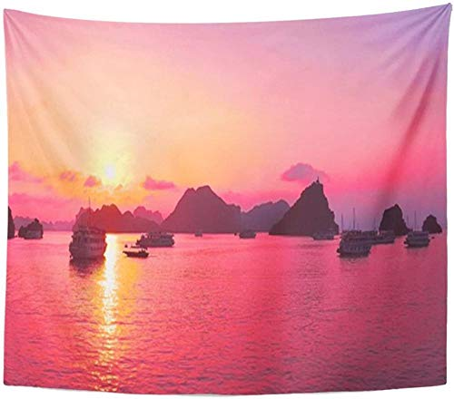 YASHUO Hermoso Tapiz púrpura Sunset and Rock Islands Tapiz para Sala de Estar Dormitorio Dormitorio,El 150x230cm