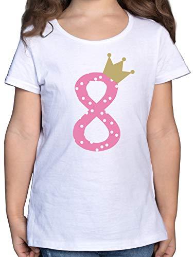 Geburtstag Kind - 8. Geburtstag Krone Mädchen Achter - 140 (9/11 Jahre) - Weiß - Geschenke 7 Jahre - F131K - Mädchen Kinder T-Shirt