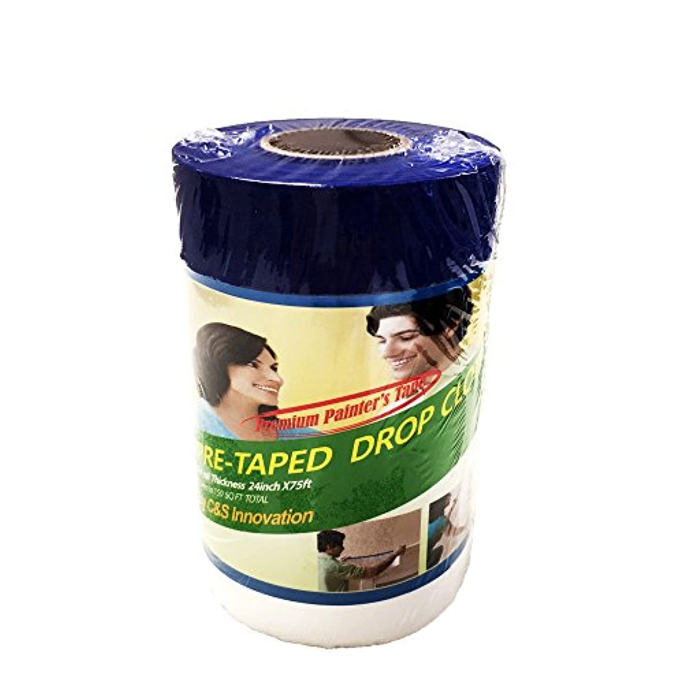 Pretaped Drop Cloth along with Blue Masking Tape (24 in x 75 ft (1 ct))