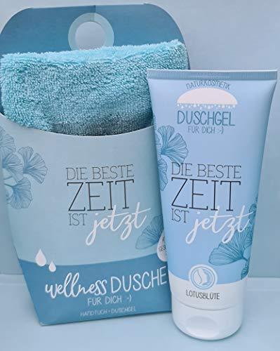 LaVida - Coffret cadeau Relax Douche bien-être - Le meilleur temps est maintenant - Cosmétique naturel certifié avec une serviette en coton biologique