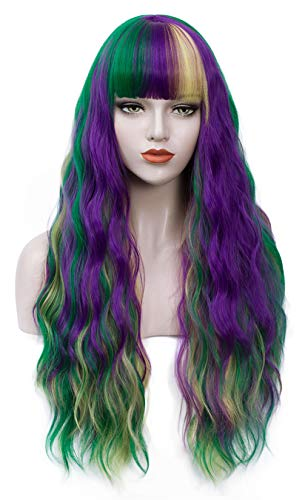 """Juziviee Puprle Green Yellow Wigs for Women, 26"""" Long Curly Wavy Colored Hair Wigs with Bangs Heat Resistant Synthetic Wigs for Mardi Gras Party Cosplay Costume AD002M1"""