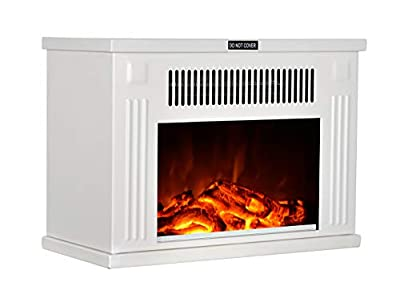 GMHome 14 Inches Mini Electric Fireplace Tabletop Space Heater Freestanding Fireplace Log Fuel Effect, 1200 W, Metal Fireplace - White