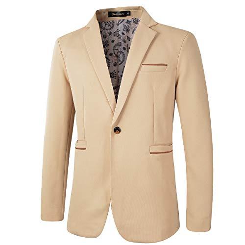 Men's Slim Fit Casual One Button Blazer Jacket (1416 Khaki, S)