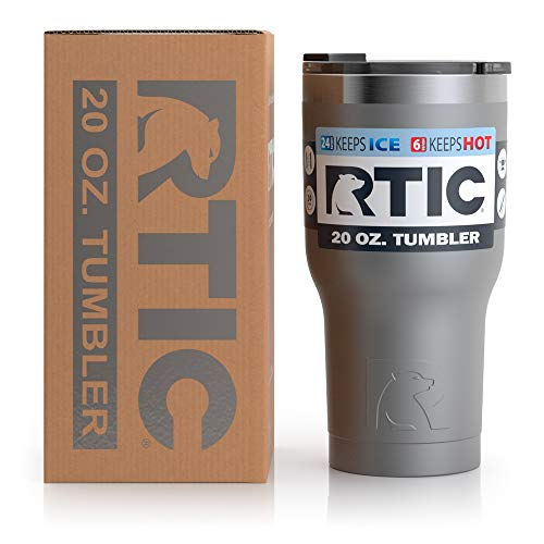 RTIC Insulated Travel Tumbler, Stainless Steel Mug, Hot Or Cold Drinks, with Splash Proof Lid, 20Oz, Graphite