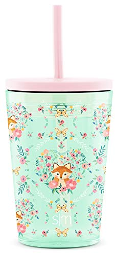 Simple Modern Kids Water Bottle with Straw or Sippy Lid BPA Free Tritan Plastic Cup for Toddlers, Dishwasher Safe Tumbler, 12oz, Fox and the Flower