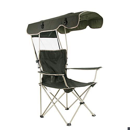 Sedie da campeggio con parasole per sedia a baldacchino pieghevole, supporto reclinabile da 172,4 kg, con portabicchieri e borsa per il trasporto, per esterni, spiaggia, campeggio, parco, patio