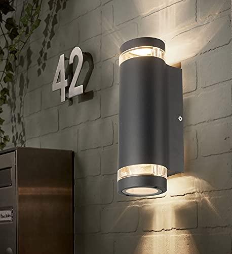 LASIDE Außenleuchte Aussenleuchte, Max 35W GU 10 Aluminium Up and Down Außenlampe Aussenlampe, IP44 Spritzwassergeschützt Anthrazitgrau Wandleuchte Aussen für Garten, Hausflur, Hof, Balkon, Terrasse