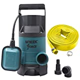 MYLEK 400w Submersible Electric Water Pump with Heavy Duty 5m Layflat Hose for Clean or Dirty Water with Float Switch - for Floods, Pools, Gardens, Wells, Ponds & More