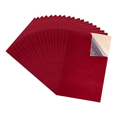 BENECREAT 40PCS Hojas Adhesivas de Respaldo Tela de Terciopelo (Rojo Oscuro), Hoja A4 (21x30cm) Autoadhesivas Duraderas y Resistentes Multiuso Ideales para Arte