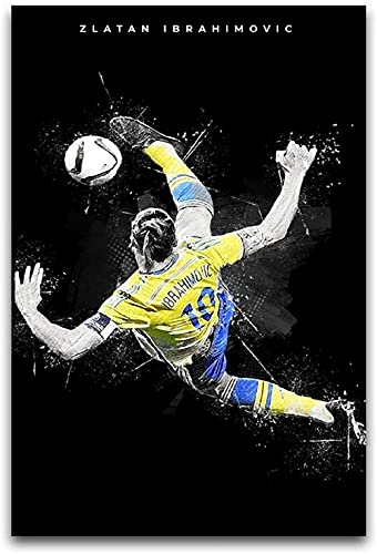 PUYIQARE Foto Auf Leinwand 60x90cm Kein Rahmen Sportfan Poster Zlatan Ibrahimovic I Poster Dekoration