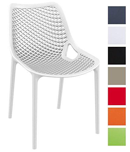 CLP XXL-Bistrostuhl AIR aus Kunststoff I Gartenstuhl mit Einer Sitzhöhe von 44 cm I Outdoor-Stuhl mit Wabenmuster I erhältlich Weiß