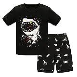 Pijama Corto de Verano para Niño, Morbuy Bebe Niña Dos Piezas Conjunto de Pijamas 100% Algodón Informal Camisa de Manga Corta Camisetas y Pantalones Cortos Conjunto 1-7 Años (tiburón,2T)