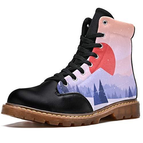 TIZORAX Botas de invierno para mujer planas de invierno al atardecer pintura estampados alta parte superior de encaje clásico de lona zapatos de escuela, color Multicolor, talla 37.5 EU