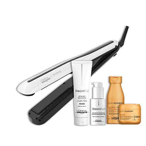 Steampod 3.0 - Pack Nutrition Cheveux Fins : Lisseur Cheveux Professionnel 2-en-1 : Lissage & Wavy + Sérum Concentré Protection Pointes + Lait vapo-activé + Shampoing Nutrifier + Masque Nutrifier