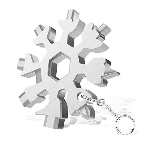 20 in 1 Schneeflocke Multitool mit Schlüsselring, Nützliche Lichtwerkzeuge, Tägliches Barbecue-Werkzeug im Freien, Praktische Geschenke für Vater Ehemann Männer Männliche Freunde, Weihnachten(Silber)