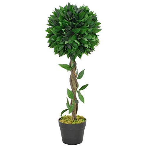 vidaXL Planta Artificial Decoración Árbol Laurel Redondo Maceta Flores Decorativas Realistas Exterior Interior Oficina Hojas Plástico 70 cm Alta Verde
