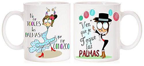 MardeTé Tazas Dobles No me toques Las Palmas Que me conozco. Juego de 2 Tazas Diferentes Muy Divertidas y flamencas
