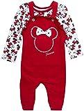Disney Baby Girls' Minnie Mouse 2 Piece Overall Set - Fleece Romper Long Sleeve T-Shirt Set (Newborn/Infant), Glitter Red, Size 6-9M