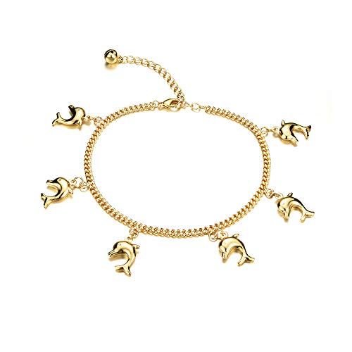 Star Jewelry 18k Gold Plated Women Anklet&Bracelet Chain Dolphins Charm Pendant Adjustable