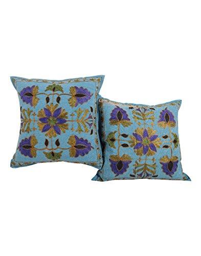 Living Room Accessori Blu 16x16 cuscino indiano Cover Set di 2 floreale in cotone federe ricamata tradizionale tiro cuscino da Rajrang