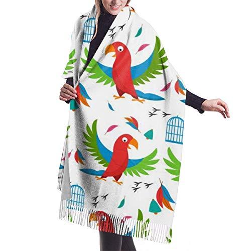 H.D. Winter Schal Damen Warm Baumwolle Papageienvogelzelle Pashmina Schals mit...