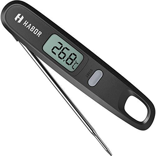 Habor Digital Küchenthermometer, Sofortlesesensor mit faltbarer Sonde zum Backen, Flüssige, Fleisch Grillthermometer, Edelstahl 304 und ABS-Kunststoff