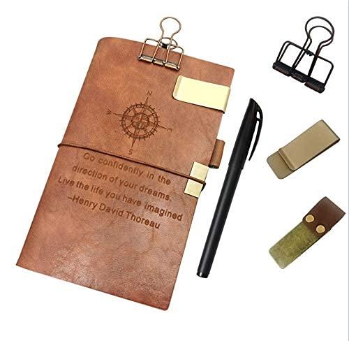 Cuaderno de viajadores de revistas de cuero recargable - 7.8 'x 4.7' Diario de viaje con 4 inserciones + soporte para bolígrafos, clip de cubierta ...