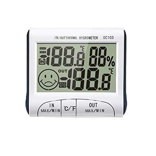 YUIO Elektronisches Thermometer Hygrometer Innen- und Außenthermometer mit Uhr und Datum Tragbares Frostpresssonden-Thermometer (weiß)