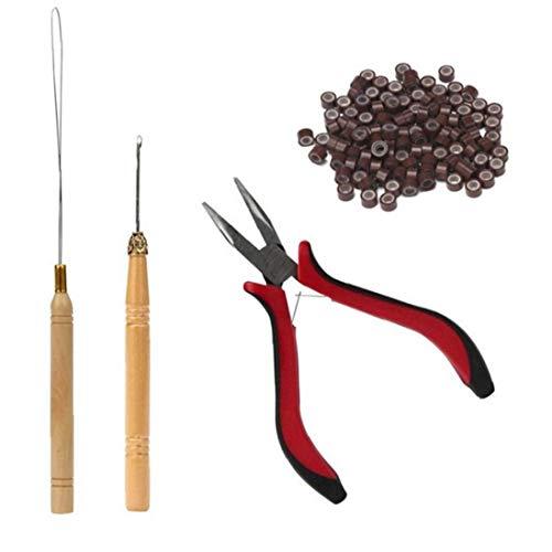 4pcs Extension De Cheveux Kit Pince De Traction Crochet Kits D'Outils De Périphériques Perles Et 200 Pièces En Silicone Doublé Anneaux Micro